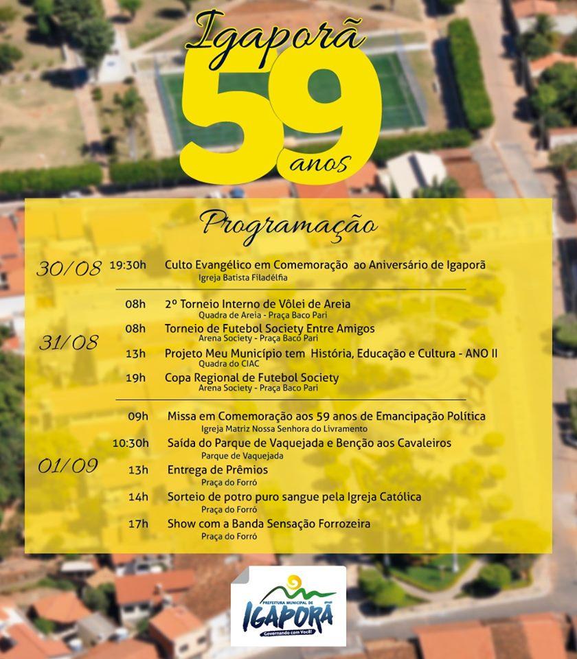 1 94 Igaporã comemora 59 anos com trabalho e programação diversificada