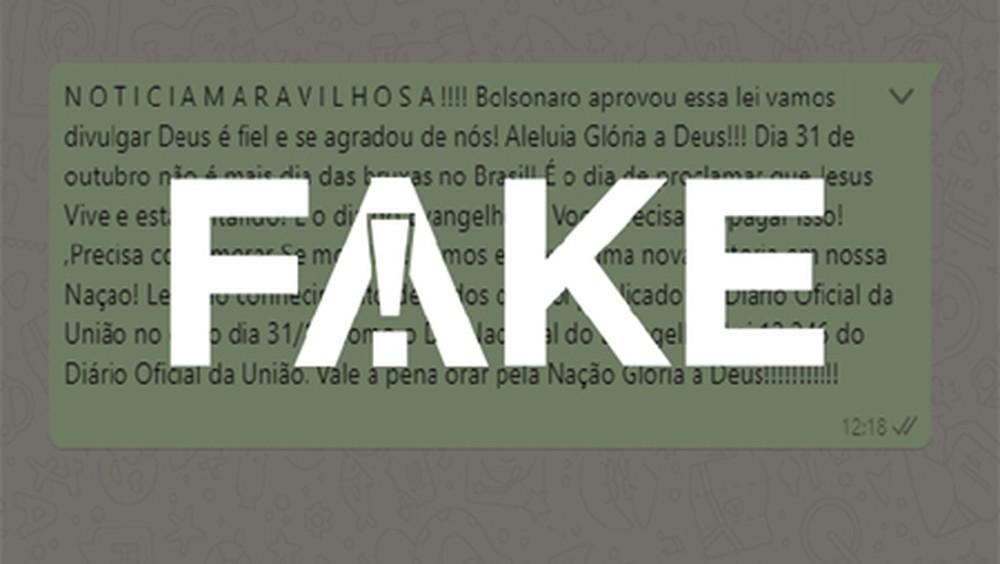 2 73 É #FAKE que Bolsonaro criou lei que transformou Dia das Bruxas em Dia do Evangelho