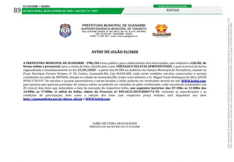 Prefeitura de Guanambi publica período de visitação de bens a serem leiloados
