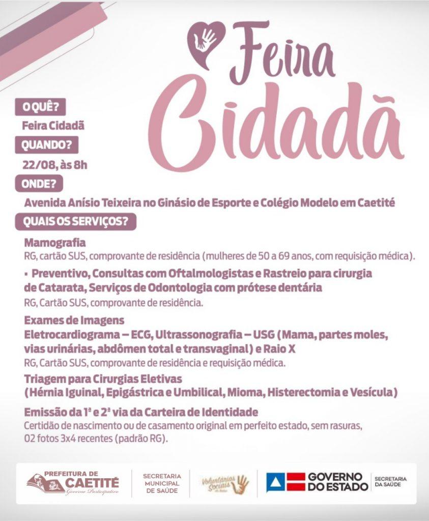 1 3 Caetité sediará a maior feira de saúde e cidadania do Estado: a Feira Cidadã