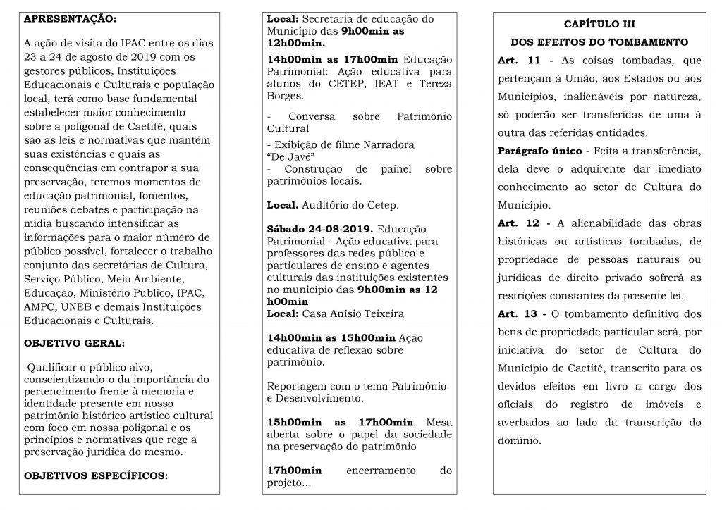 """2 15 Caetité: """"Diálogos Patrimoniais"""" irá discutir políticas públicas do Patrimônio Histórico, Artístico e Cultural da cidade"""