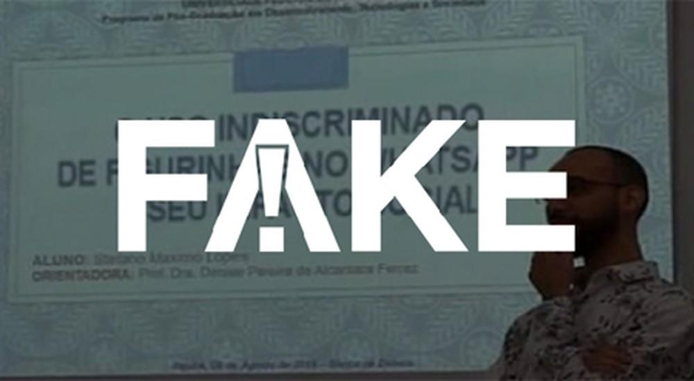 2 74 É #FAKE foto que mostra aluno de universidade federal apresentando dissertação sobre figurinhas de WhatsApp
