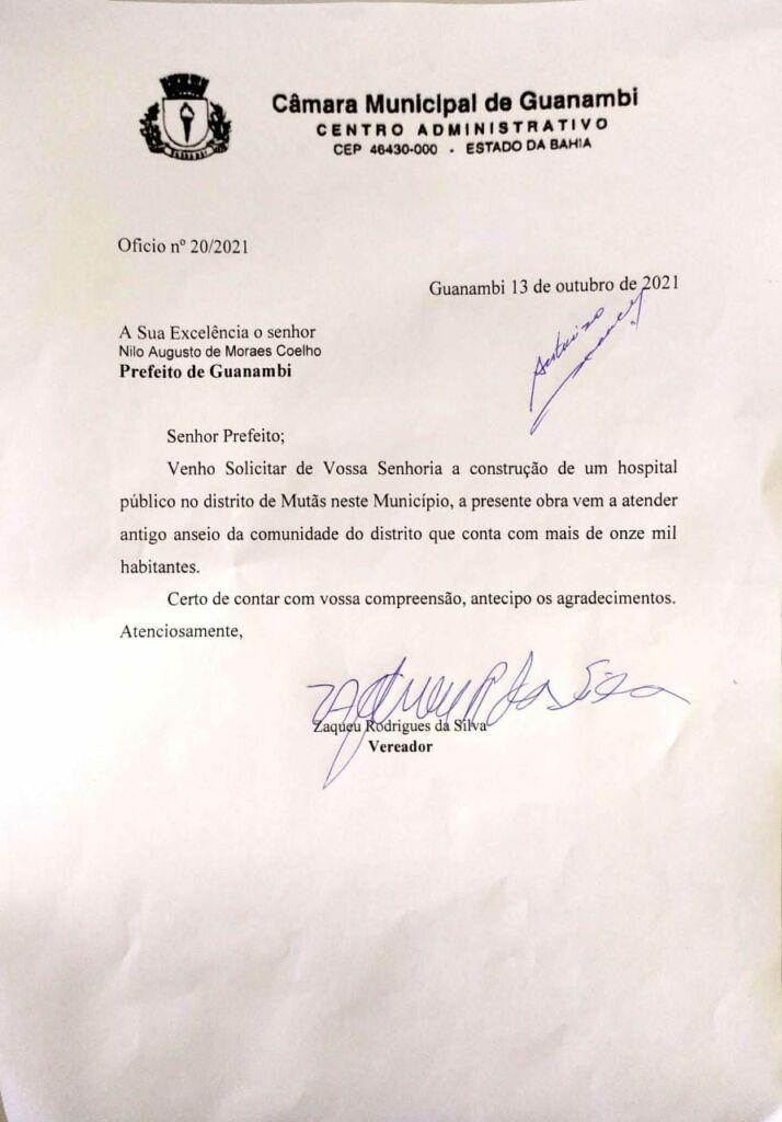 WhatsApp Image 2021 10 13 at 14.49.26 A pedido do vereador Zaqueu Rodrigues, Nilo Coelho autoriza construção de Hospital Público no distrito de Mutans